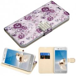 LG K8 / Phoenix 3 Fresh Purple Flowers Diamante Wallet with Diamante Belt