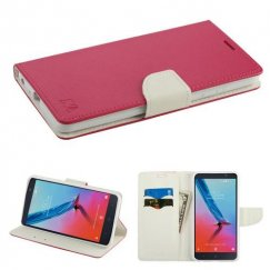 ZTE Blade Z Max / Sequoia Z982 Hot Pink Pattern/White Liner wallet with Card Slot