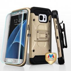 Samsung Galaxy S7 Edge Gold/Black 3-in-1 Case Combo with Black Holster and Full-coverage Screen Protector