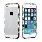 Apple iPhone 5/5s Black/White Diamante Metal Surround Shield
