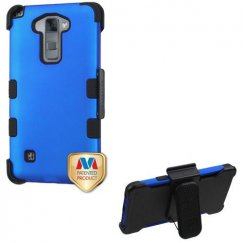 LG G Stylus 2 Titanium Dark Blue/Black Hybrid Case with Black Horizontal Holster