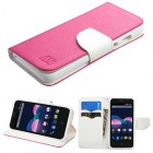 ZTE Obsidian Hot Pink Pattern/White Liner wallet with Card Slot