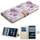 LG G Stylo Fresh Purple Flowers Diamante Wallet with Diamante Belt