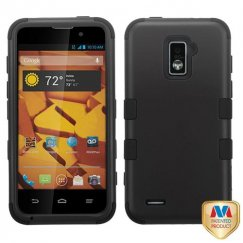 ZTE Warp 4G Rubberized Black/Black Hybrid Case