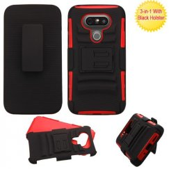 LG G5 Black/Red Advanced Armor Stand Case with Black Holster