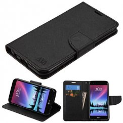 LG K10 Black Pattern/Black Liner wallet with Card Slot