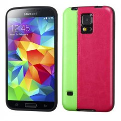 Samsung Galaxy S5 Fluorescent Green/Hot Pink Embossed Leather Backing Candy Skin Cover
