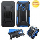LG Nexus 5X Black/Dark Blue Advanced Armor Stand Protector Cover (With Black Holster)