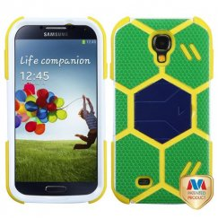 Samsung Galaxy S4 Green/Yellow Goalkeeper Hybrid Case with Dark Blue Stand
