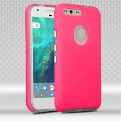 Google Pixel Electric Pink Dots Textured/Transparent Clear Fusion Case