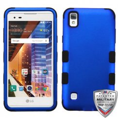 LG X Style / Tribute HD Titanium Dark Blue/Black Hybrid Case - Military-Grade Certified