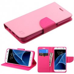 Samsung Galaxy S7 Pink Pattern/Hot Pink Liner Wallet with Card Slot