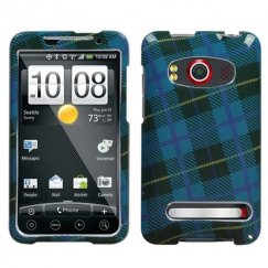 HTC EVO 4G Blue Plaid Weave Case