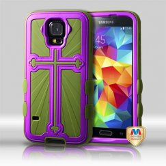 Samsung Galaxy S5 Rubberized Grape/Yellowish Green Cross Hybrid Case