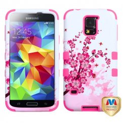 Samsung Galaxy S5 Spring Flowers/Electric Pink Hybrid Case