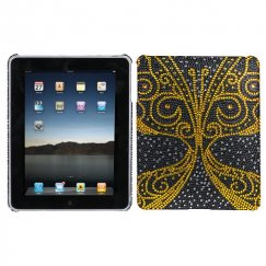 AppleiPad 1st Generation 2010 Golden Butterfly Diamante Back Case