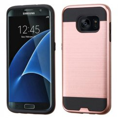 Samsung Galaxy S7 Edge Rose Gold/Black Brushed Hybrid Case