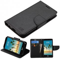 LG K3 Black Pattern/Black Liner wallet with Card Slot