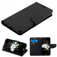 LG K8 Black Pattern/Black Liner wallet with card slot