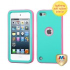 Apple iPod Touch (5th Generation) Rubberized Teal Green/Lightning Electric Pink Hybrid Case