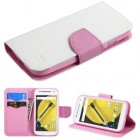 Motorola Moto E 2nd Gen White Pattern/Pink Liner wallet with Card Slot