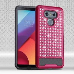 LG G6 Hot Pink/Iron Gray Diamante FullStar Case