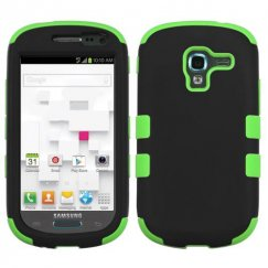 Samsung Galaxy Exhibit Rubberized Black/Electric Green Hybrid Case