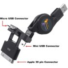 Retractable USB to 3-in-1 (Mini-USB, Micro-USB or Apple 30-Pin) Data Sync & Charge Cable