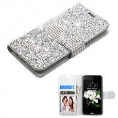 LG K7 Silver Mini Crystals with Silver Belt Wallet