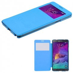 Samsung Galaxy Note 4 Sky Blue Silk Texture Wallet with Transparent Frosted Tray