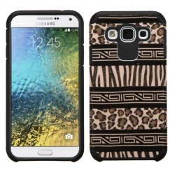 Samsung Galaxy E5 Zebra Skin-Leopard Skin/Black Advanced Armor Case