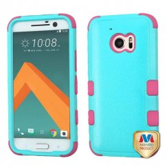 HTC 10 Natural Teal Green/Electric Pink Hybrid Case