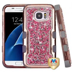 Samsung Galaxy S7 Rose Gold Plating Frame Pink Mini Crystals Back/Iron Gray Vivid Hybrid Case for Galaxy S7
