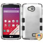 LG Tribute Rubberized Gray/Black Hybrid Phone Protector Cover