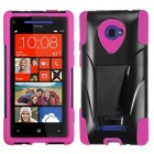 HTC Windows Phone 8x Hot Pink Inverse Advanced Armor Stand Protector Cover