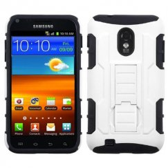 Samsung Epic 4G Touch (Galaxy S2) White/Black Car Armor Stand Case - Rubberized
