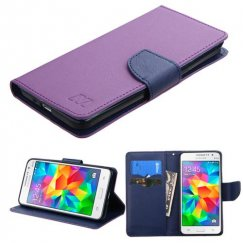 Samsung Galaxy Grand Prime Purple Pattern/Dark Blue Liner wallet with Card Slot