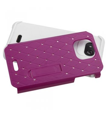 Kyocera Wave / Hydro Air Hot Pink/White Luxurious Lattice Elite Dazzling Stand Hybrid Case with Diamonds
