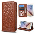 Samsung Galaxy S6 Brown Genuine Leather Wallet