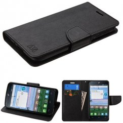 Alcatel Stellar / Tru 5065 Black Pattern/Black Liner wallet with Card Slot