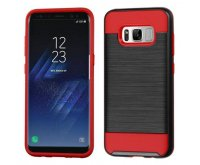 Samsung Galaxy S8 Black/Red Brushed Hybrid Protector Cover