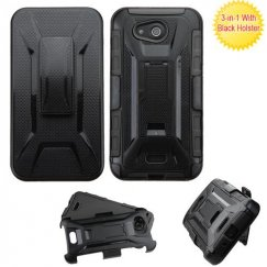Kyocera Wave / Hydro Air Black/Black Advanced Armor Stand Case with Black Holster