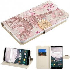 LG LG G Stylo 2 Plus Eiffel Tower Diamante Wallet with Diamante Belt
