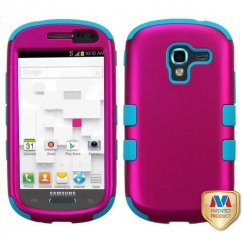 Samsung Galaxy Exhibit Titanium Solid Hot Pink/Tropical Teal Hybrid Case