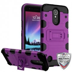 LG K10 Purple/Black Storm Tank Hybrid Case Military Grade