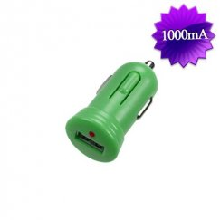 Green Bullet-like USB Car Charger(1 Amp)