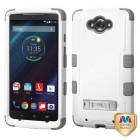 Motorola Droid Turbo XT1254 Natural Cream White/Iron Gray Hybrid Phone Protector Cover (with Stand)