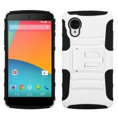 LG Nexus 5 White/Black Advanced Armor Stand Case