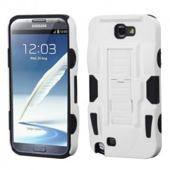Samsung Galaxy Note 2 White/Black Advanced Armor Stand Case - Rubberized