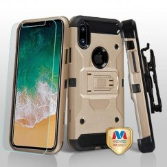 Apple iPhone X Gold/Black 3-in-1 Kinetic Hybrid Case Combo with Black Holster and Tempered Glass Screen Protector